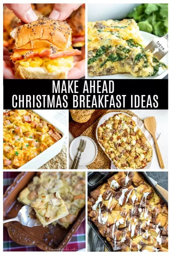 These easy make ahead Christmas breakfast ideas are simple breakfast or brunch recipe that can be made the night before and served on Christmas morning. Make a delicious breakfast casserole, or a holiday treat made with store bought items so you can spend more time enjoying Christmas and less time in the kitchen! #makeahead #christmas #breakfast #brunch # breakfastcasserole #homemadeinterest