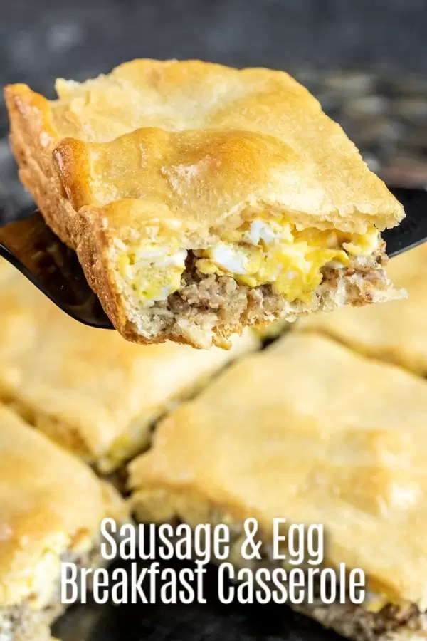 This is an easy, make ahead, breakfast casserole fill with layers of sausage, cream cheese, and scrambled eggs baked into a crust made with crescent rolls dough. Make it the day before and let it sit in the refrigerator overnight or assemble in the morning and bake in the oven. A breakfast casserole for Christmas breakfast or New Year's breakfast, or anytime you need an easy breakfast option! #breakfast #casserole #sausage #homemadeinterest
