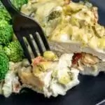 Chicken Artichoke Casserole layered with artichoke dip