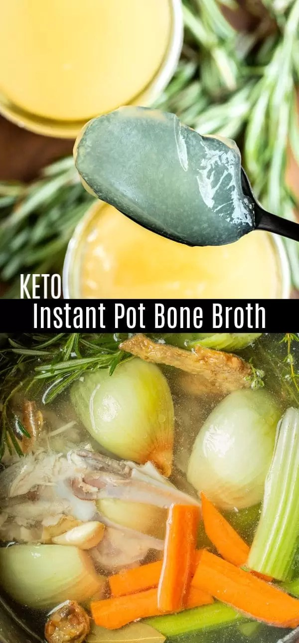 Easy instructions on how to make chicken bone broth in your Instant Pot. All the healthy benefits of rich, keto bone broth in less time. Our recipe for homemade chicken bone broth to use for soups and other easy dinner recipes. #bonebroth #chicken #instantpotrecipes #instantpot #pressurecookerrecipes #keto #ketorecipes #homemadeinterest