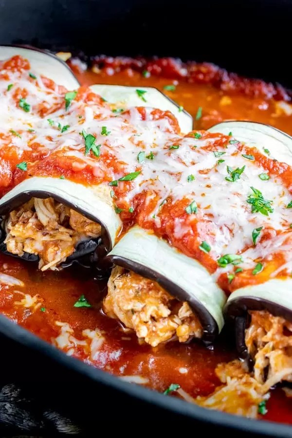 Keto Chicken Parmesan Roll Ups in a platter for dinner
