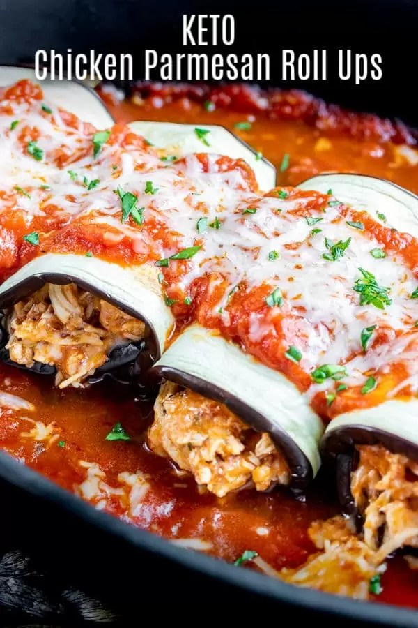 This delicious recipe for Keto Chicken Parmesan Roll Ups is classic flavors of chicken parmesan rolled up into a low carb eggplant wrapper and topped with low carb marinara sauce and cheese. A delicious Italian keto dinner recipe that everyone will love. This low carb recipe is the perfect way to fill your craving for chicken parmesan without all of the carbs! #chicken #ketorecipes #keto #lowcarbrecipes #lowcarb #homemadeinterest