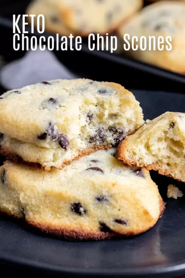 These Keto Chocolate Chip Scones are a delicious keto breakfast, brunch, or dessert recipe that uses low carb chocolate chips, almond flour, and coconut flour to make light, fluffy scones that everyone will love. It is an easy keto baking recipe that will fill your sweet craving! #ketobaking #ketorecipe #keto #lowcarb #lowcarbrecipes #baking #homemadeinterest