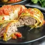 cut open Keto Instant Pot Cabbage Rolls on a plate