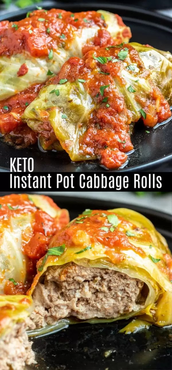 These simple Instant Pot Cabbage Rolls are delicious keto dinner recipe made with bundles of stuffed cabbage cooked until tender in a homemade tomato sauce. This traditional Polish dish has a low carb spin on it leaving out the rice and instead filling the cabbage leaves with seasoned beef and pork and cooking them in an Instant Pot for a quick and easy keto dinner for busy weeknights! #ketorecipes low carbrecipes #keto #cabbage #ketodiet #homemadeinterest