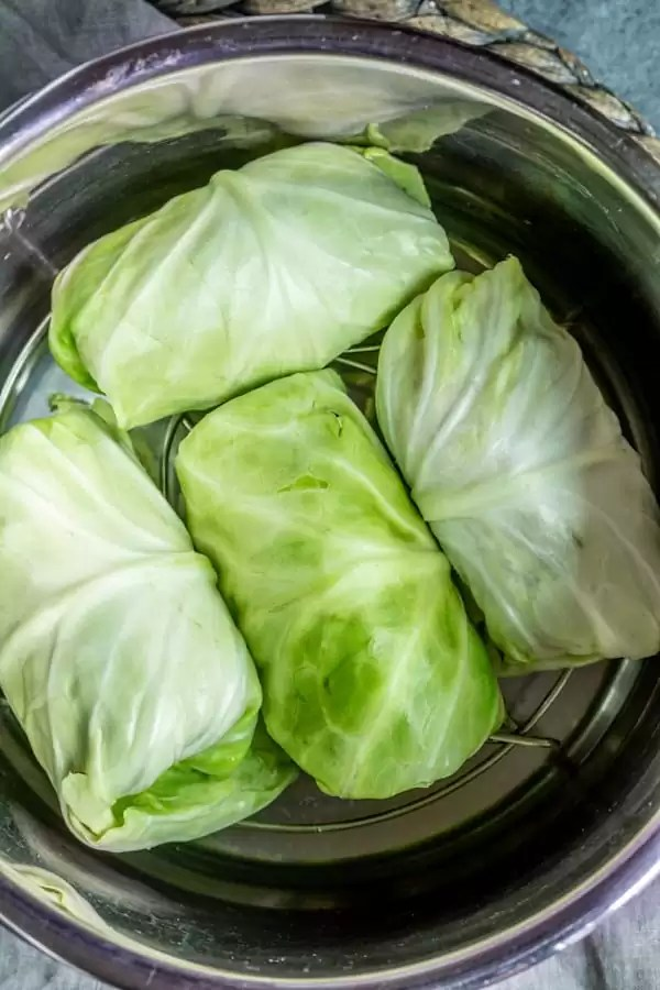 Keto Instant Pot Cabbage Rolls with cabbage in the instant pot