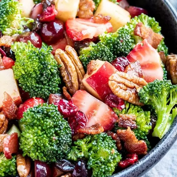bowl of Broccoli Salad with magic dressing