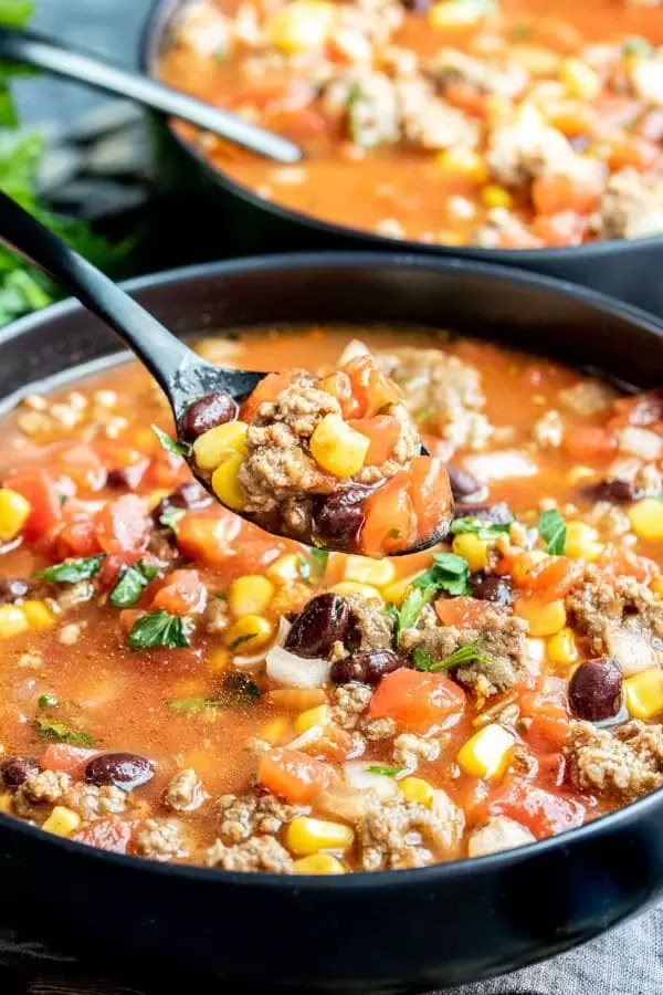 Slow Cooker Taco Soup is an easy winter soup recipe