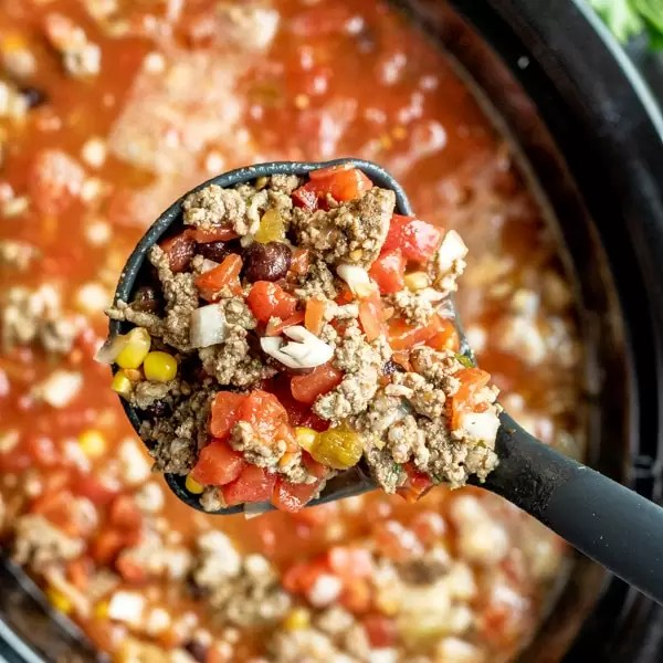 Slow Cooker Taco Soup in a ladle