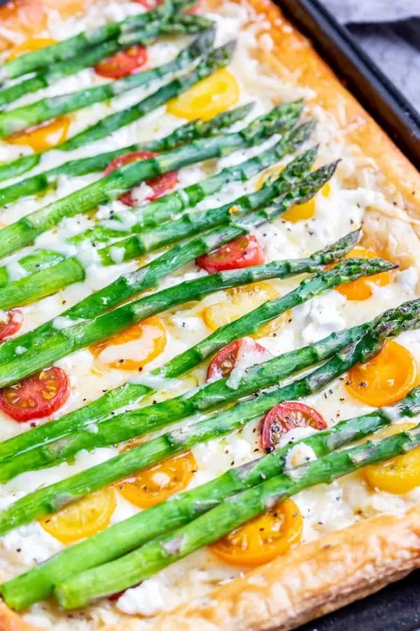 Asparagus Tart topped with cheese