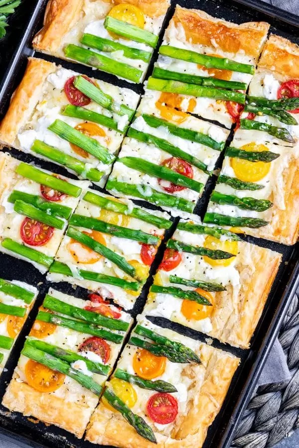 Asparagus Tart in a sheet pan