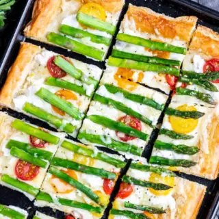 Sliced Asparagus Tart with goat cheese and tomatoes