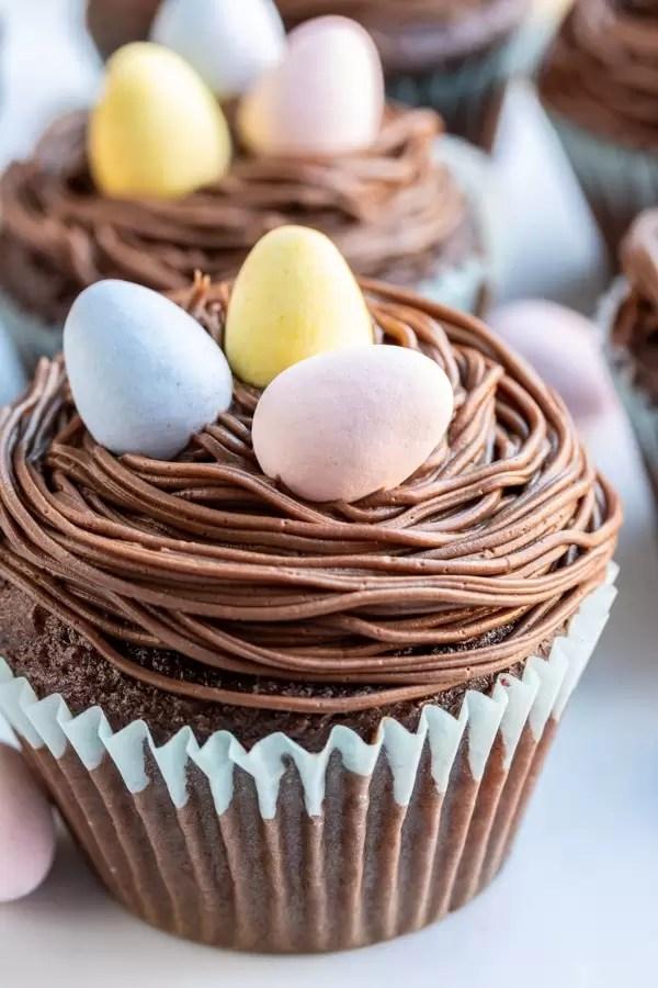 Los pastelitos de Pascua de Nido de Pájaro son pastelitos de Pascua glaseados con chocolate