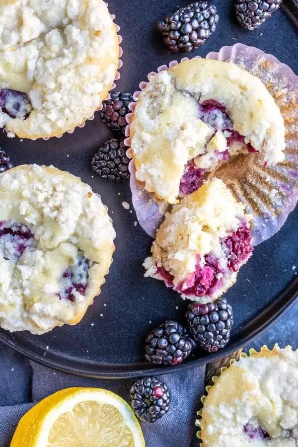 Blackberry Lemon Muffins made with blackberries and lemon