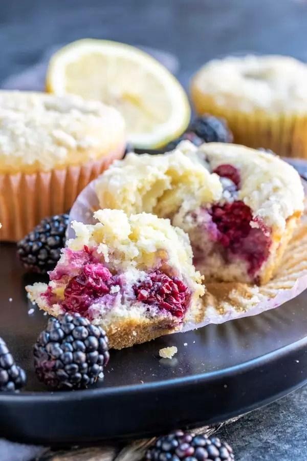 moist Blackberry Lemon Muffins