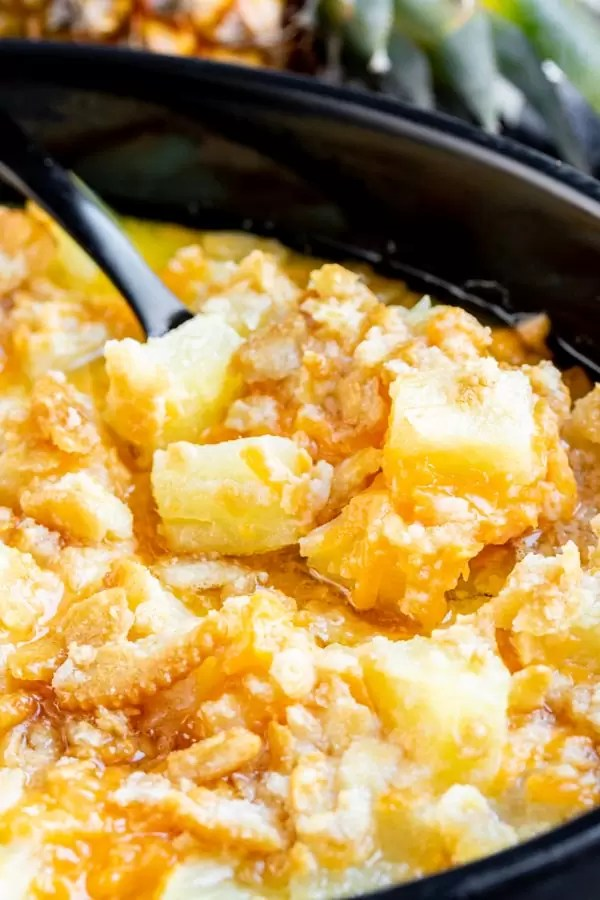 Pineapple Casserole with ritz cracker topping