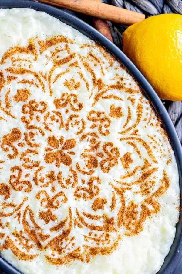 Portuguese Rice Pudding topped with cinnamon design made with a stencil