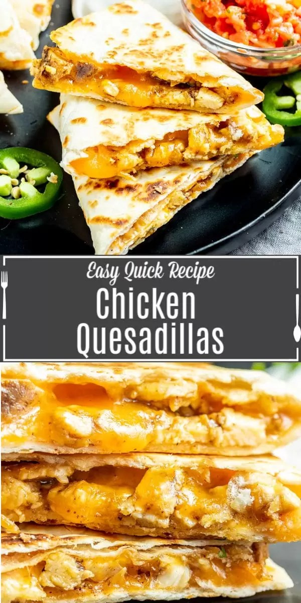 These easy chicken quesadillas are buttery, toasted flour tortillas packed full of grilled chicken and perfectly melted cheese. Chicken quesadillas are grilled in a skillet to make the perfect comfort food. It's an easy lunch or dinner recipes that kids and adults will love. They are a simple Cinco de Mayo dinner recipe!