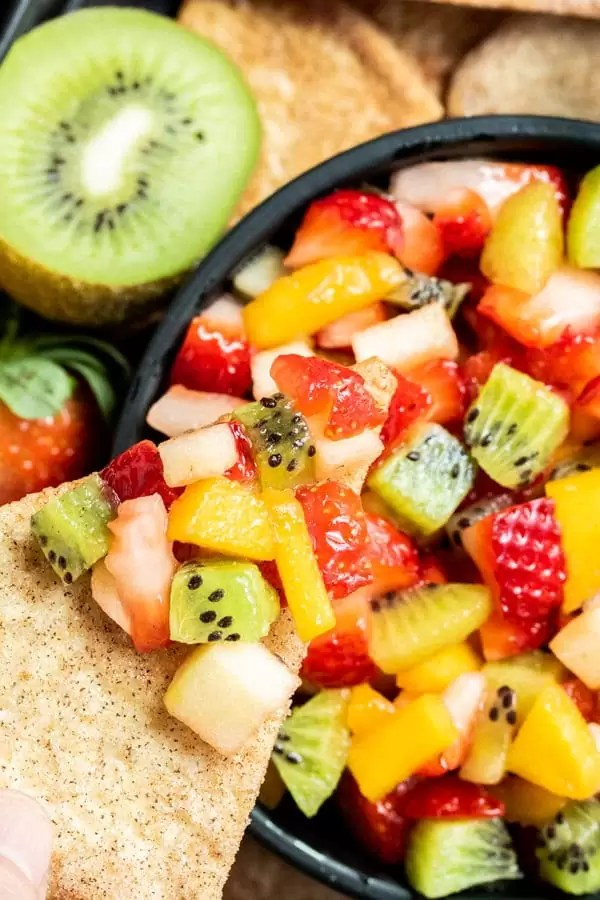 Fruit Salsa with Cinnamon Chips kid approved healthy dessert