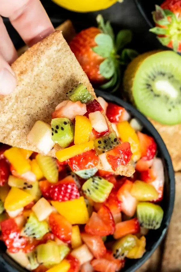healthy Fruit Salsa with Cinnamon Chips