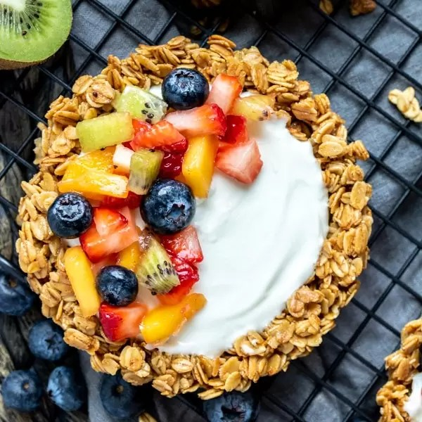 Granola Fruit Tart topped with fresh fruit, healthy holiday breakfasts