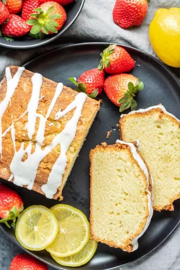 Lemon Pound Cake on plate with glaze