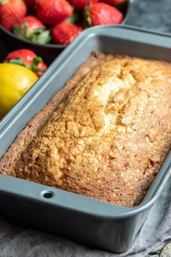 Lemon Pound Cake in a loaf pan