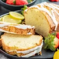 Lemon Pound Cake slices with glaze