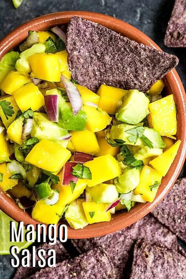 Pinterest image for Mango Avocado Salsa with title text