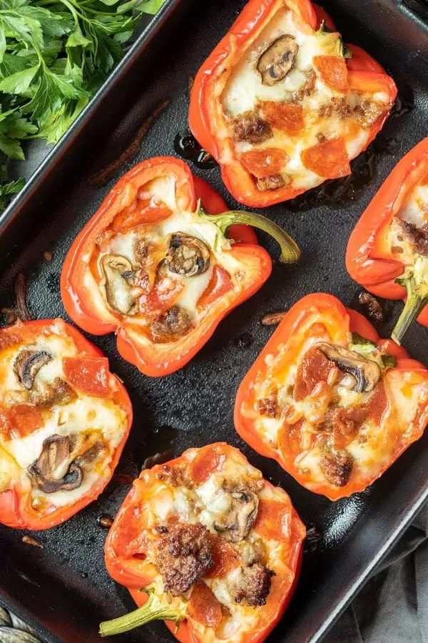 pan of Meat Lover's Pizza Keto Stuffed Peppers for low carb dinner