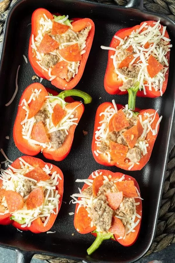 how to make keto stuffed peppers Meat Lover's Pizza Keto Stuffed Peppers style