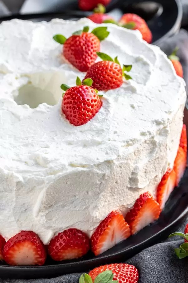Strawberry Angel Food Cake is the perfect summertime dessert