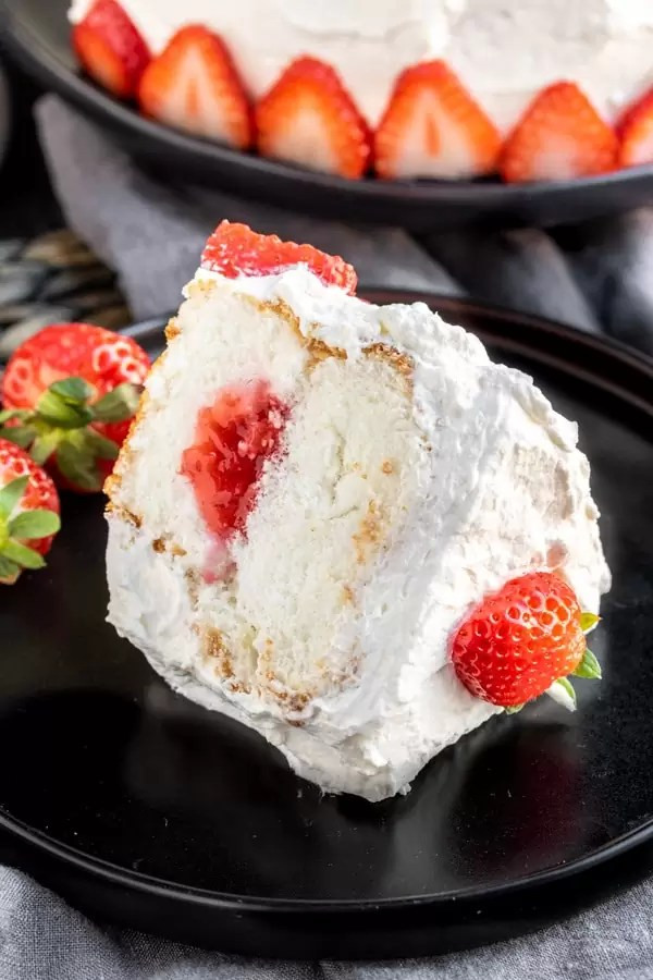 Strawberry Angel Food Cake slice with strawberry jam