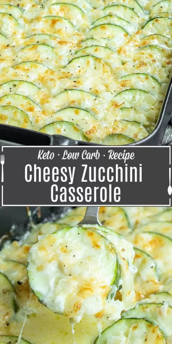 Pinterest image for Cheesy Baked Zucchini Casserole