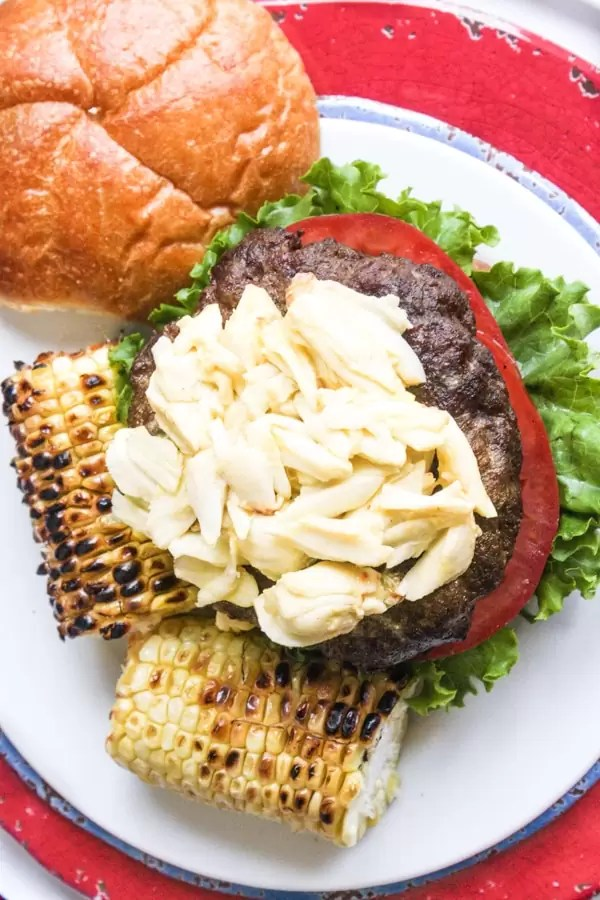 Chesapeake Crab Burger topped with lump crab meat