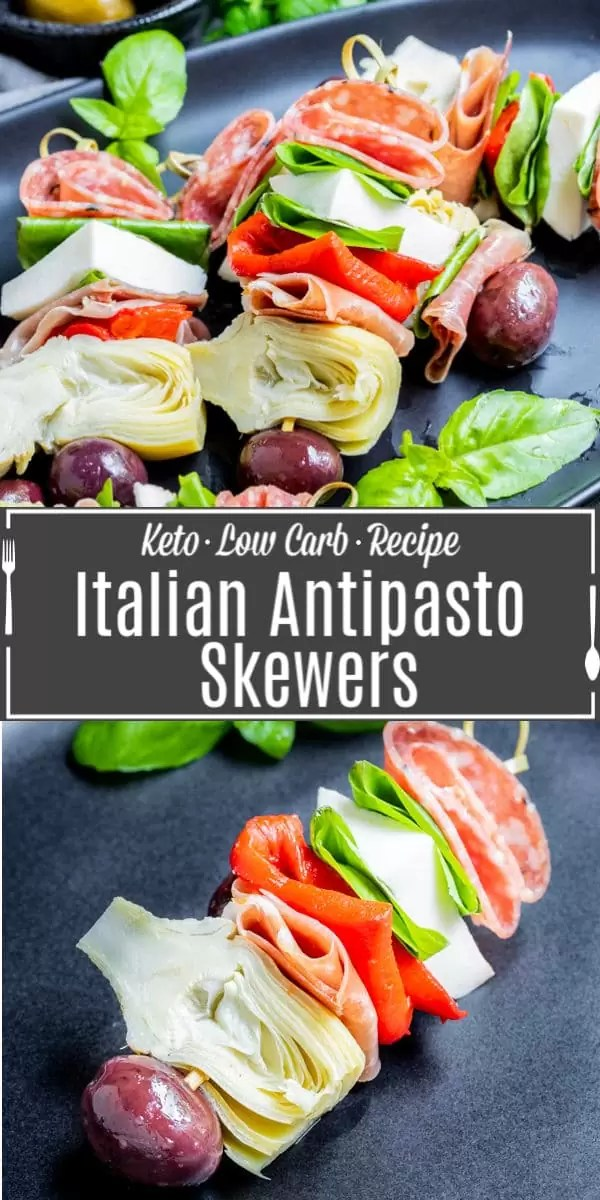 Pinterest Image for Italian Antipasto Skewers