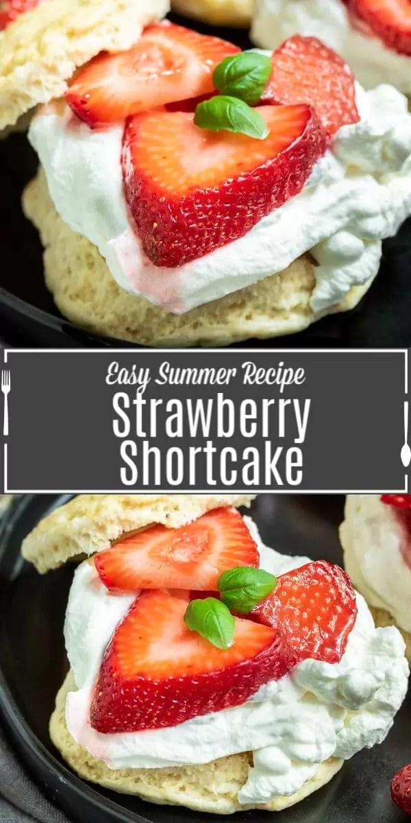 Pinterest image of Strawberry Shortcake with title on image