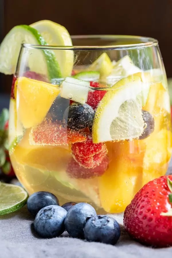 Summer Moscato Sangria with infused fruit for summer