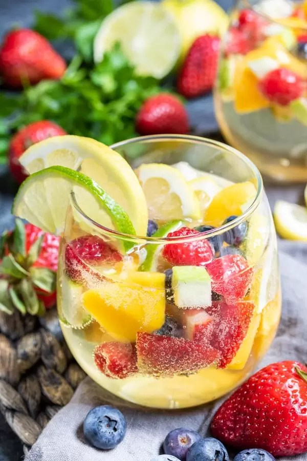 Summer Moscato Sangria made with fresh fruit