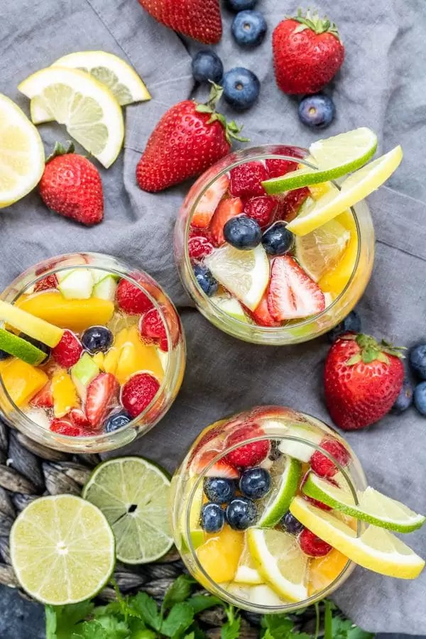three glass of Summer Moscato Sangria