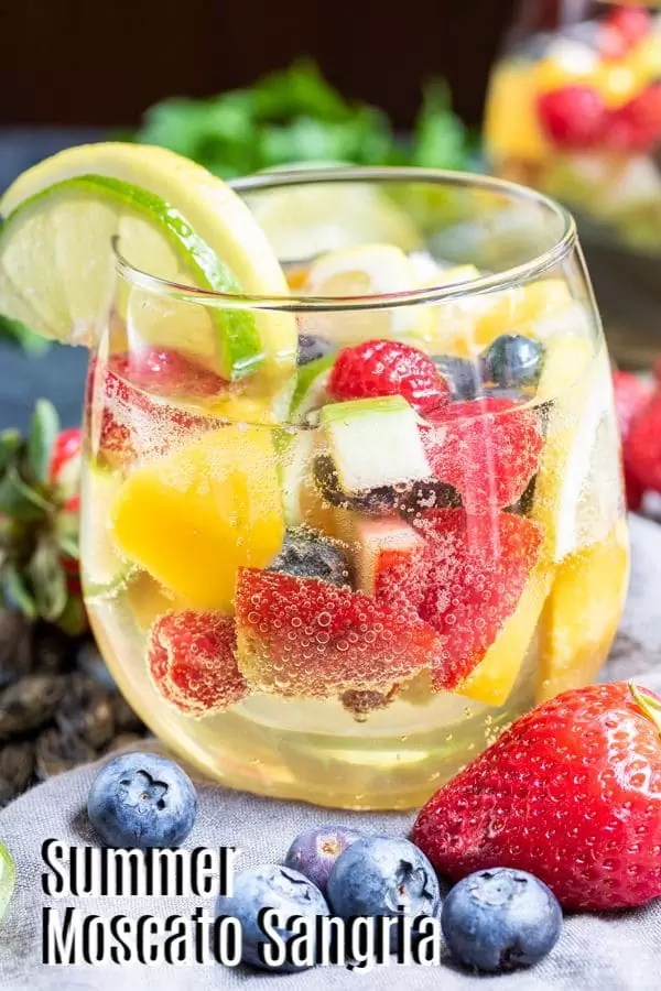 Pinterest image for Summer Moscato Sangria with text on it