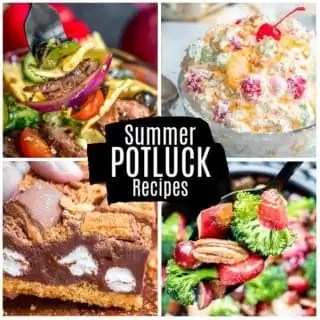 collage of summer potluck recipes for Pinterest