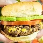 Chipotle Black Bean Burger with avocado