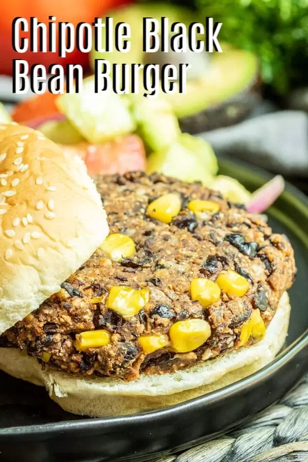 Chipotle Black Bean Burgers pinterest image with title text