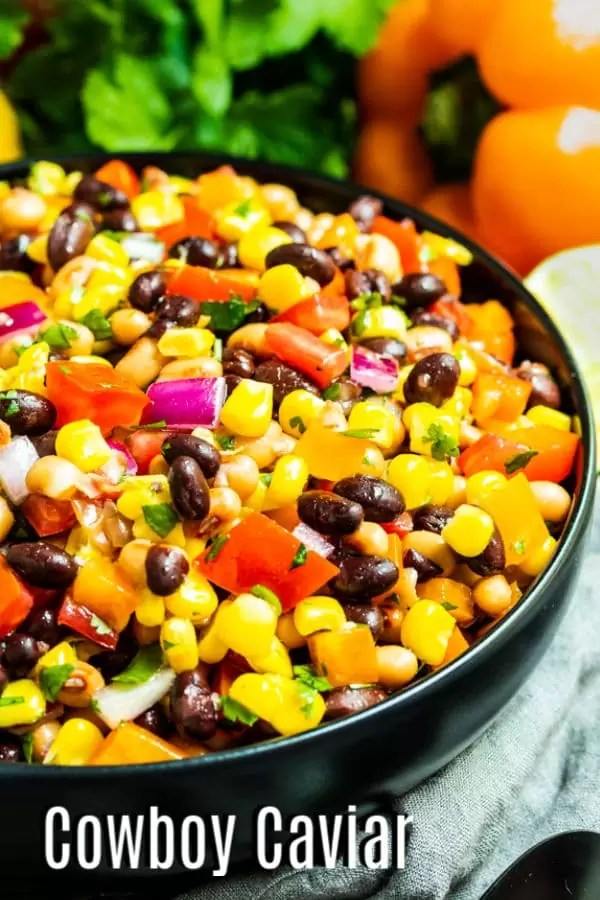 Pinterest image with text for Cowboy Caviar