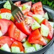 bowl of Cucumber and Tomato Salad