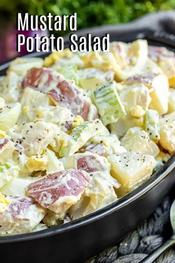 Pinterest image for Mustard potato salad with title text