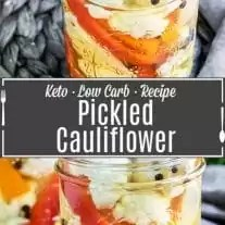 Quick and Easy Pickled Cauliflower pinterest image with title text
