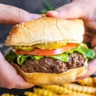holding an Air Fryer Burger