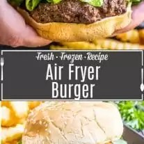 Pinterest image for Air Fryer Burgers with title text
